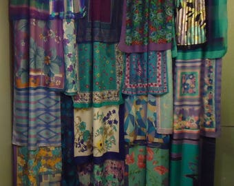Shades of Turquoise & Purple Gypsy Boho Curtains - 84""
