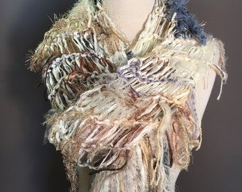 Fringed funky  knit extra long lightweight artwear Scarf 'Vanilla Sky', Dumpster Diva, Knit Fringed ivory taupe blue Scarf, bohemian fashion