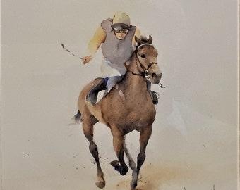 David Howell PPRSMA (b1939-) original watercolour painting Horse Racing Study 2 horse art jockey artist English artist rider gambler GIFT
