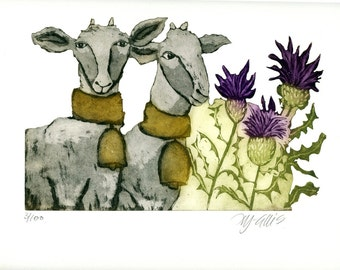 etching, goat art print,  thistle art, nature art print, country wall art, printmaking, limited edition print, summer colors, farm kitchen