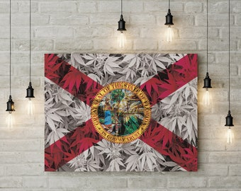 Weed Leaf Florida Flag Canvas