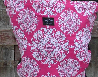 Baby Sling-ORGANIC Cotton Baby Wrap-Pink Burst on Black-DvD One Size Fits All