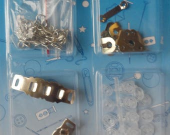 set of hooks, clasps and snaps