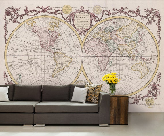 World map wallpaper antique world map wall mural vintage like this item gumiabroncs Images