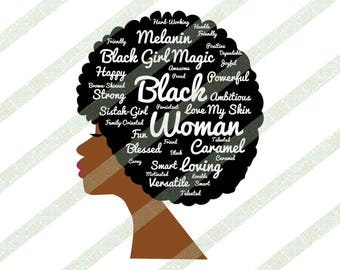 Words In Natural Hair Afro SVG DXF JPEG Brown Skinned Black Woman African American Cutting File
