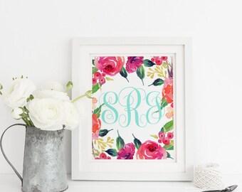 Floral Monogram Initials Custom Print, Family Name Print, Custom Sorority Printable, Nursery Home Decor Sign, Custom Digital Template, 8x10