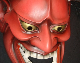 Devil red Japan hannya authentic wood professional mask