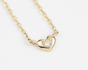 14k solid gold diamond heart necklace, tiny diamond heart necklace, dainty diamond heart necklace, yellow gold, rose gold, white gold