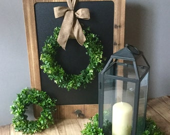 Mini Farmhouse Wreath, Mini Boxwood Wreath, Mini Window Wreath, Mother's Day  Wreath, House Warming Wreath