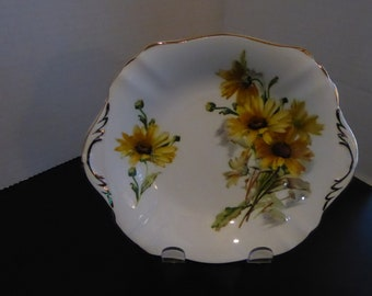 "Vintage Paragon BROWN EYED SUSAN 7 1/4"" X 6 3/8""  Double Handled Relish/Candy Dish Circa 1965"