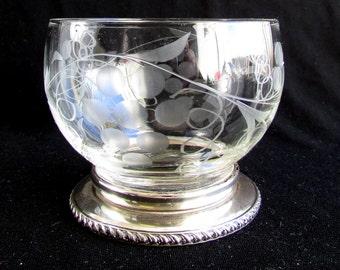 Birks Sterling, Crystal Open Sugar Bowl, on Sterling Silver Base, Vintage
