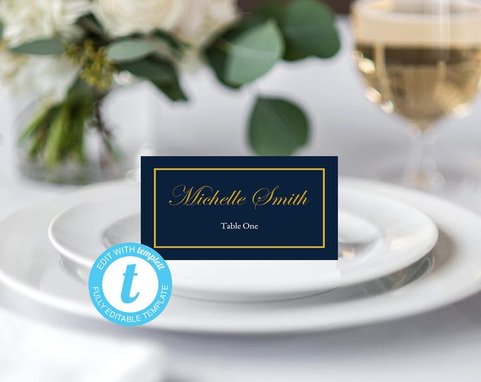 Wedding Place Card, INSTANT DOWNLOAD, YOU Edit, Navy Wedding Place Card, Blue and Gold Place Card, Blue & Gold Wedding, Place Cards Template