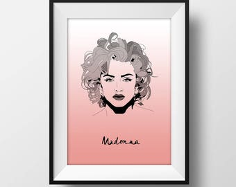 Madonna with name - Graphic Illustration A4 - Art Print