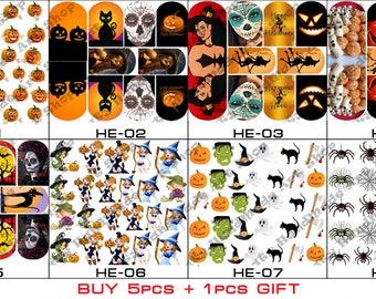 32 pcs Nail Art Transfer Stickers Water Slide Decals Labels Tattoos Trendy Fashion Popular Style Pumpkin Halloween