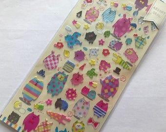 Japan Qlia ANIMALS Assort sticker sheet