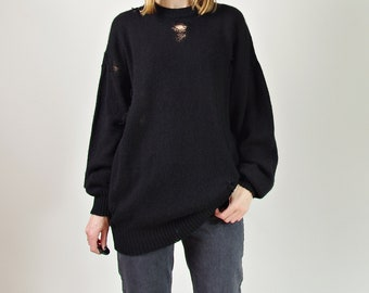 90s Avant garde oversized destroyed ripped black shetland wool unisex sweater
