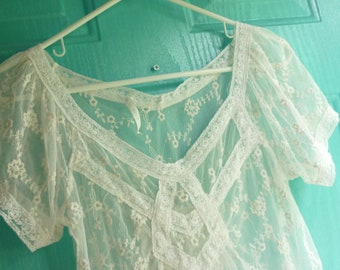 Vintage Net Lace French ALENCON  Bodice Blouse...Excellent Condition..Small