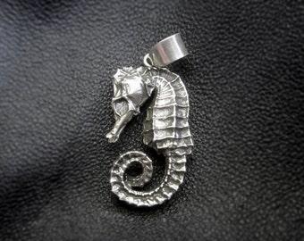 Silver or brass seahorse pendant