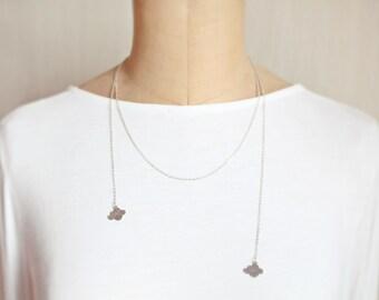 cloud - Open Necklace, Cloud Pendant, Rhodium Color, Long Necklace