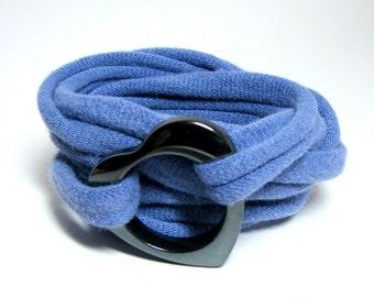Wrap T-shirt Bracelet, Recycled Bracelet, Purple Bracelet, T-Shirt Jewelry, Eco Bracelet, Eco-Friendly Jewelry, Repurposed Silver Jewelry