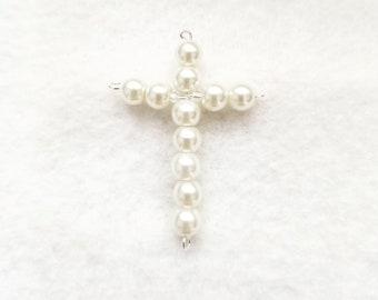 White Pearl Cross Pendant Necklace