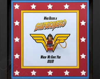 Personalised Wonder Woman minifigure frame.mothers day gift