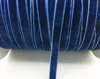 "3/8"" Navy Velvet Ribbon by the Yard  AF18"