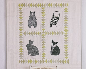 Forest friends baby blanket, baby quilt, heirloom wall hanging