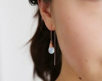 Rainbow Moonstone Ear Threads - Moonstone Earrings - Threader Earrings  - Rose Gold - June Birthstone