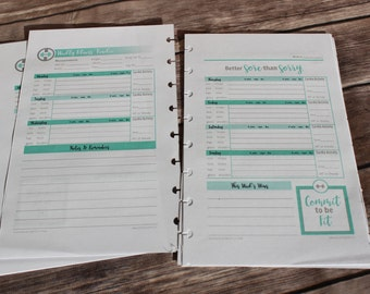 Printable WORKOUT  PLANNER insert pages Circa Junior, Tul Jr, ARC, Discbound, 5.5 x 8.5 Half Page Refill, Teal