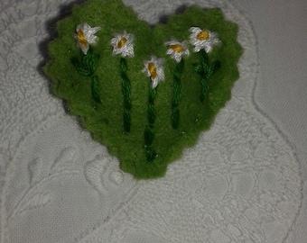 Beautiful hand created small heart brooch