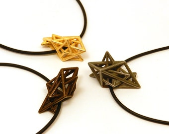 Angular Complexity Necklace (3D printed Steel, Bronze, Gold)