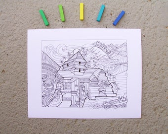 Kerala, India - DIY Color-Your-Own Art Print - 11 by 14 Illustration Pen and Ink Art Print