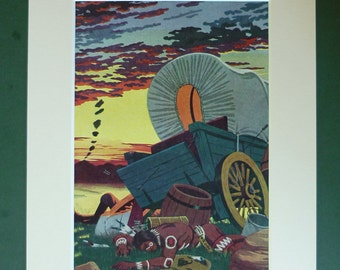 Vintage 1951 Cowboys & Indians Matted Print - Wild West - Carriage - Stagecoach - Wagon - Native American - Battlefield - Western - Sunset