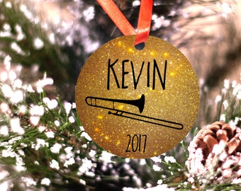Personalized Trombone Musician Band or Marching Band Ornament