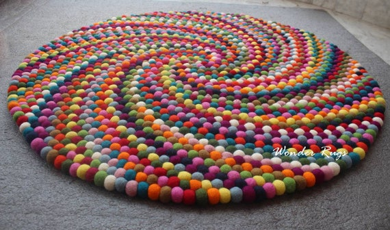Custom Made Colorful Felt Ball Round Rug by WonderRugs