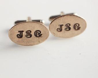 Bronze Personalized Cuff Links  Fathers Day Anniversary Graduation Wedding Item Cufflinks