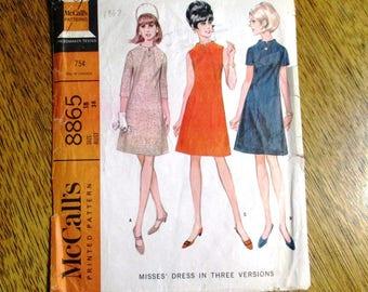 """MOD 1960s A Line Mini Dress w/ Funnel Neckline & Unique Seam Detail - PLUS Size 18 (Bust 38"""") - VINTAGE Sewing Pattern McCalls 8865"""
