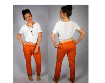 1970s Bohemian Cotton Pants Vintage Harem Pants Hippie Pants Embroidered Pants Handmade Vintage Pants Linen Pants