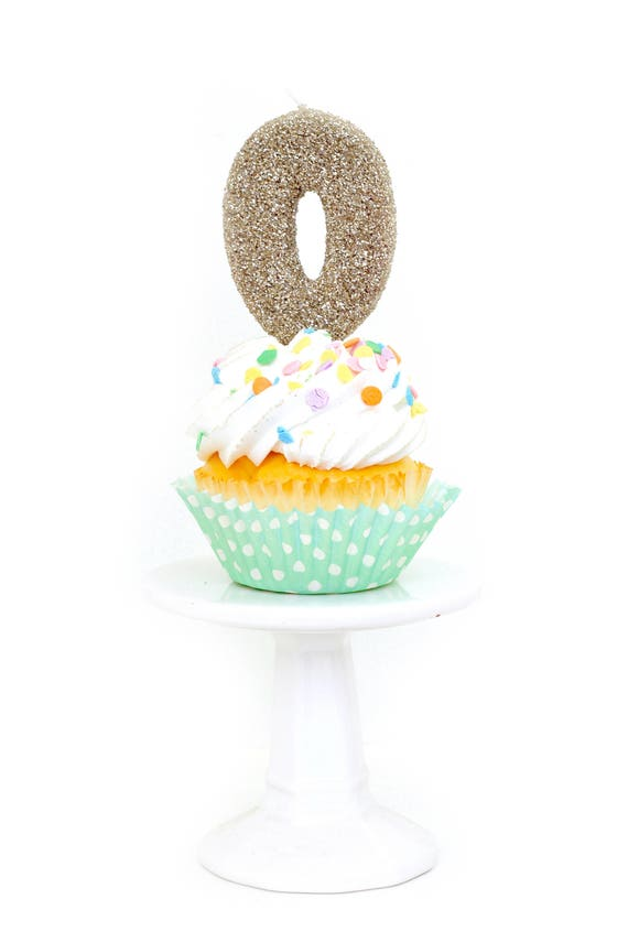 """3"""" Number 0 Candle, Giant 0 Candle, Gold Glitter Zero Candle, Large Champagne Candle, White Gold Party Decor Candle Number 0 Birthday Candle"""