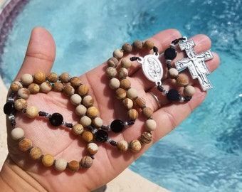 Prayer of St. Francis Rosary~Earthtones Matte Jasper featuring San Damiano Crucifix and St. Antjony of Padua centerpiece.