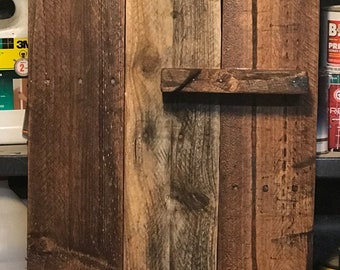 Rustic wood wall shelf art