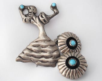 Sterling Silver Mexico Brooch Earrings Set Turquoise 1940s Retro Flamenco Dancer