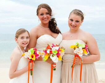 Mango/yellow/orange, coral, hot pink, fuchsia, green, bouquet, Real Touch flowers, calla lilies, orchids, Tropical, silk, wedding