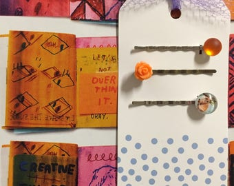 Orange Hair Clips with a Cute Bunny Cabochon