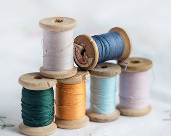 Set of 6_cotton sewing threads_wooden thread spools_light dark blue_orange dark green_sand beige pink rose_pure cotton_Valentines Day Party