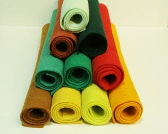 "Salsa 10 Color Collection of Wool Felt Blend Fabric Sheets 12"" x 18"""