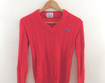 Vintage 1960s Cherry Red Haymaker Lacoste Pullover Tennis Sweater