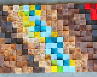 Wood wall art, Wood mosaic, 3D Wood wall Art, Wood Wall Art - Wooden Art Wall Sculpture, Rustic Wood wall Art, Reclaimed Wood wall Art