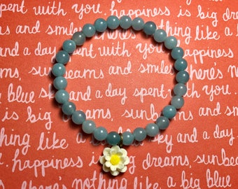 Pretty Blue Jade Daisy Bracelet